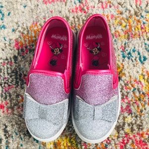 Disney Minnie Mouse Pink Silver Glitter Bow Shoes
